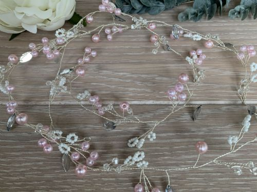 Ivanna Crystal Pink Pearl Beaded Hair Vine